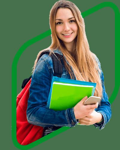 фон студентка с книгами с зеленой рамкой